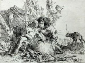 Giambattista-Tiepolo-twee-tovenaars-met-kind-dat-bang-is-voor-slang-1741-45